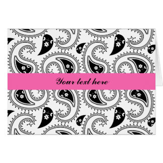 Cartes Noir, blanc, motif de Paisley de roses indien
