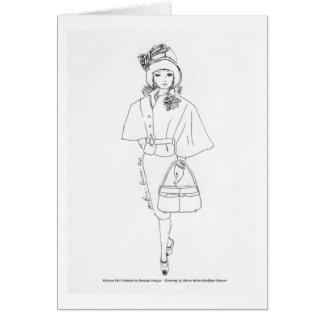 Cartes Noir CapeDress d'Aquarelle de mode de poupée de