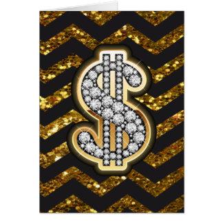 Cartes Noir et diamant de Chevron d'or et symbole dollar