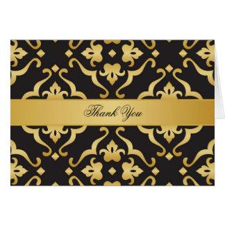 Cartes Noir et Merci floral de damassé d'or