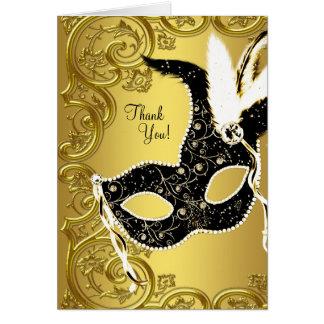 Cartes noires de Merci de partie de mascarade d'or