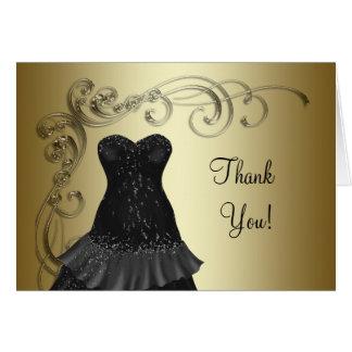 Cartes noires de Merci d'or de noir de robe