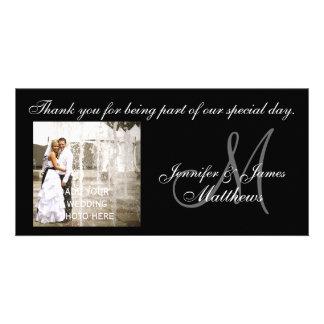 Cartes noires et blanches de monogramme de Merci d Photocartes