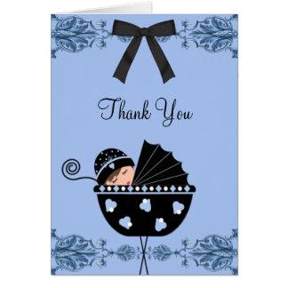 Cartes noires et bleues de Merci de baby shower