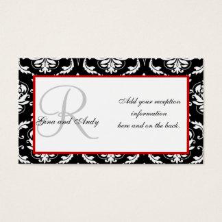 Cartes noires et rouges de réception de mariage