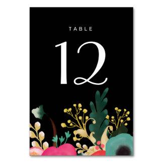 Cartes noires florales modernes de nombre de