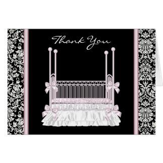 Cartes noires roses de Merci de baby shower de