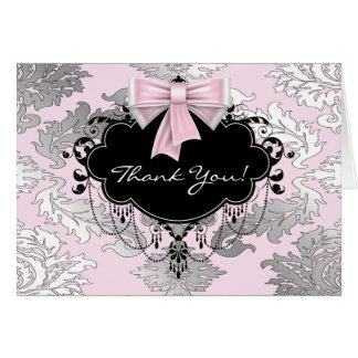 Cartes noires roses de Merci de damassé