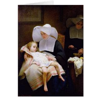 Cartes Nonne s'occupant d'un enfant malade