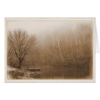 Cartes Nostalgique par l'étang - blanc