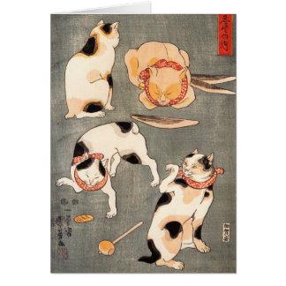 Cartes Note Crad de chats de Kuniyoshi quatre