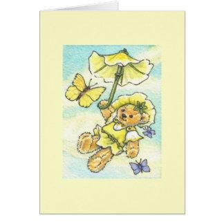 Cartes Note de blanc de nounours de parasol