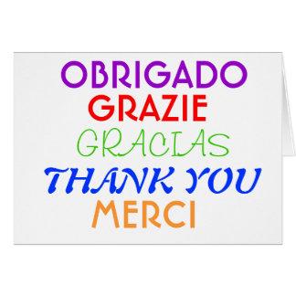 Cartes Note de Merci dans différentes langues