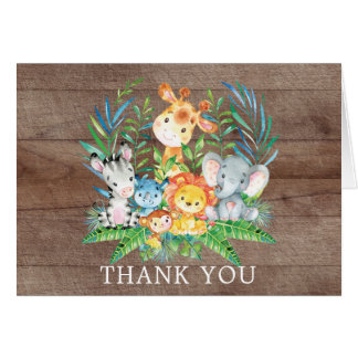 Cartes Note de Merci de baby shower de jungle de safari