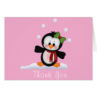 Cartes Note de Merci de baby shower de pingouin