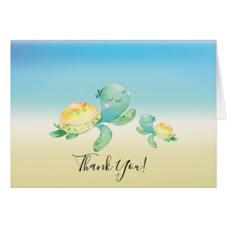 Cartes Note de Merci de baby shower de tortue de mer