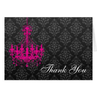 Cartes Note de Merci de damassé de noir de lustre de