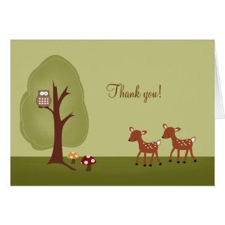 Cartes Note de Merci pliée par cerfs communs de la forêt