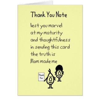 Cartes Note de Merci - un drôle vous remercie poème