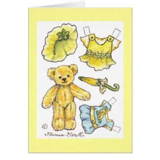 Cartes Note de papier de blanc de nounours de poupée