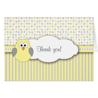 Cartes Note grise jaune de Merci de baby shower de mod de