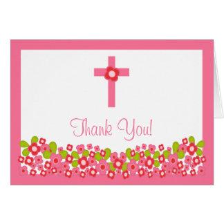 Cartes Note religieuse croisée florale moderne de Merci