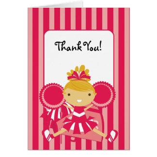 Cartes Note rose de Merci de pom-pom girl de KRW