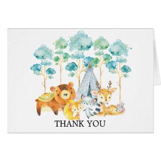 Cartes Note tribale de Merci de baby shower d'animaux de