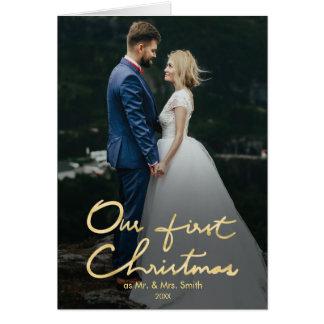 Cartes Notre premier Noël comme M. et Mme photo de
