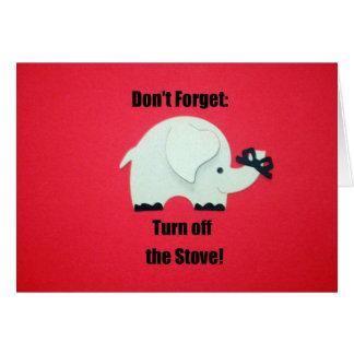 Cartes N'oubliez pas : Arrêtez le fourneau !