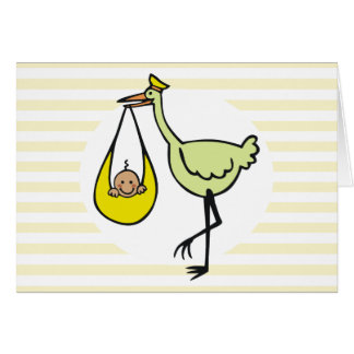 Cartes Nouveau bébé et cigogne verte