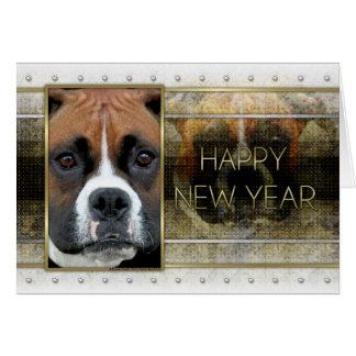 Cartes Nouvelle année - élégance d'or - boxeur - Vindy