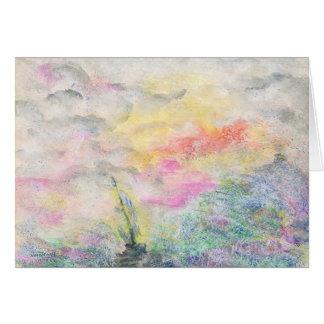Cartes Nuages et bateau d'aquarelle
