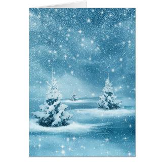 Cartes Nuit de Noël étoilée bleue de Milou