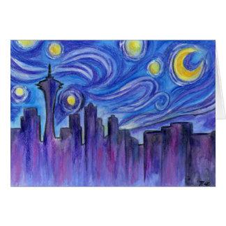 Cartes Nuit étoilée au-dessus de Seattle