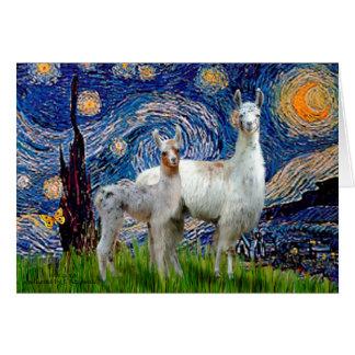 Cartes Nuit étoilée avec deux lamas