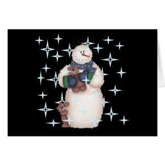 Cartes Nuit étoilée de bonhomme de neige