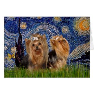 Cartes Nuit étoilée des terriers de Yorkshire (deux) -