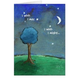 Cartes Nuit étoilée, l'arbre abstrait de paysage tient le