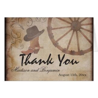 Cartes occidentales de Merci de mariage de cowboy