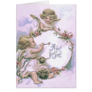 Cartes Oeuf rose de peinture d'ange d'ange