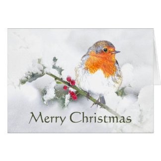 Cartes Oiseau de jardin de Robin de l'anglais de Joyeux