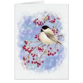 Cartes Oiseau d'hiver par la fenêtre de Milou. Scène de
