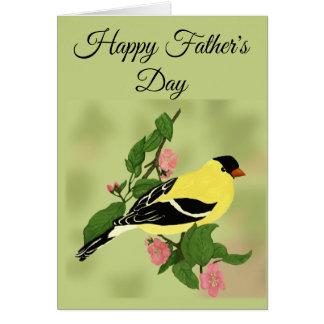 Cartes Oiseau heureux de chardonneret de fête des pères