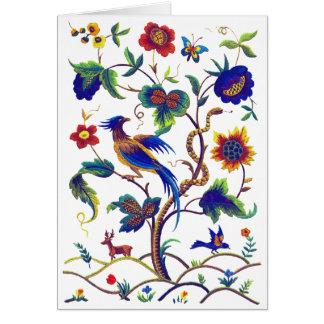 Cartes Oiseau Jacobean de Beautful de broderie de paradis