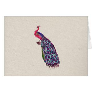 Cartes Oiseau turquoise rose Girly lumineux de paon