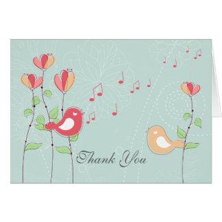 Cartes Oiseaux de chant avec des fleurs épousant le Merci