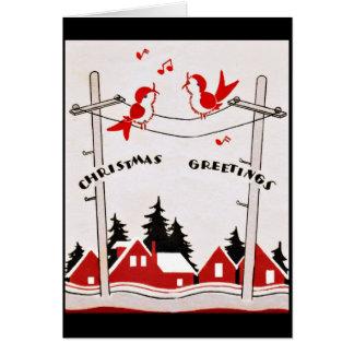 Cartes Oiseaux de Noël d'art déco