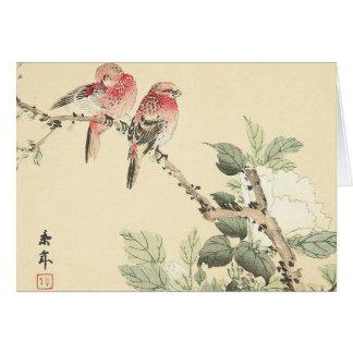 Cartes Oiseaux et coton Imao rose Keinen