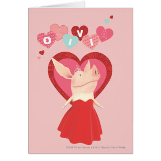 Cartes Olivia dans la robe rouge